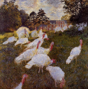 The Turkeys at Montgeron 1877 by Claude Monet oil on canvas, 174 x 172cm Musee d'Orsay