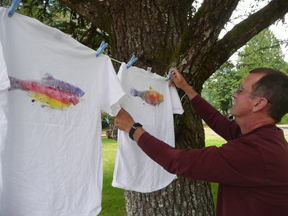 Hanging Fish Printed T-Shirts to Dry