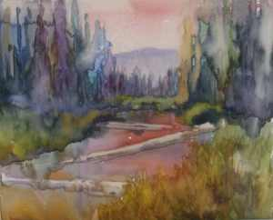 Watercolor underpainting of Sparks Lake